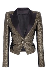Elie Saab Smocking Jacket In Paillettes With Stars Gold
