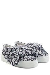 Joshua Sanders Platform Slip On Sneakers With Embroidered Fabric Blue