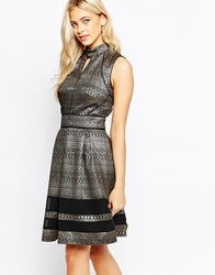 Oasis Metallic Pattern Skater Dress Multiblack