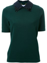 Muveil Embellished Collar Knit Top Green