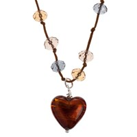 Martick Platinum Murano Heart Cluster Crystal Cord Necklace Chocolate