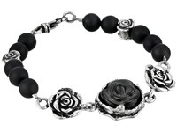 King Baby Studio 8Mm Onyx Bead Bracelet With Carved Jet Rose And Silver Roses Black Silver Bracelet