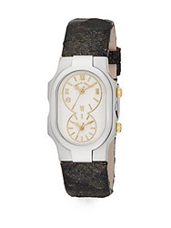 Philip Stein Teslar Signature Stainless Steel And Embossed Leather Strap Dual Time Watch Dark Green Silver