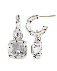 John Hardy White Topaz Square Drop Hoop Earrings