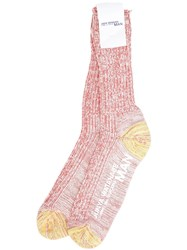 Junya Watanabe Comme Des Garcons Man Cable Knit Socks Red