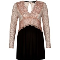 River Island Womens Pink Lace V Neck Tunic