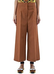 Marni Bonded Wool Wide Leg Pants Brown