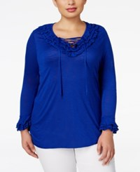 Inc International Concepts Plus Size Ruffled Lace Up Top Only At Macy's Goddess Blue