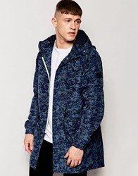 Native Youth Camo Print Parka Navy