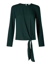 Jigsaw Satin Back Crepe Tie Top Green