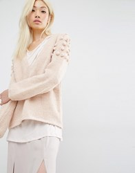 Oneon Hand Woven Jumper In Plunge Neck With Pom Pom Shoulder Pale Pink