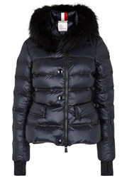 Moncler Armonique Navy Fur Trimmed Quilted Jacket