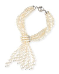 Utopia Multi Strand Pearl Tassel Necklace With Diamonds