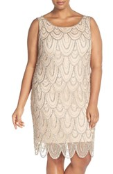 Pisarro Nights Plus Size Women's Beaded Sheath Dress Light Blush