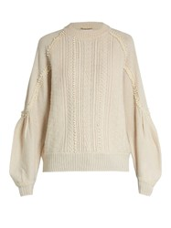 Muveil Circle Embroidery Wool Blend Sweater Ivory