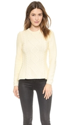 Torn By Ronny Kobo Layla Cable Knit Sweater Ivory