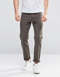 Asos Stretch Slim Jeans In Khaki Forest Night Green