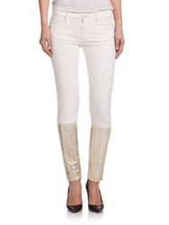 Paige Verdugo Dip Dye Ultra Skinny Jeans Cream And Gold