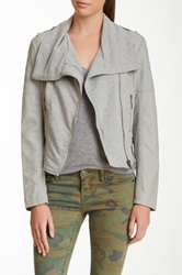 Blanc Noir Faux Leather Quilted Pleated Cascade Moto Jacket Gray