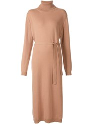 Lemaire Turtleneck Long Sweater Dress Nude And Neutrals