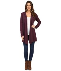 Allen Allen Hooded Open Cardigan Eggplant Women's Sweater Purple