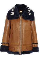 Balenciaga Le Bombardier Shearling Trimmed Leather Bomber Jacket Tan