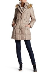 Dkny Faux Fur Trim Side Tab Puffer Brown