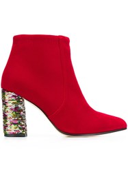 Bams Sequin Heel Boots Red
