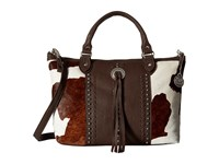 American West Cow Town Large Zip Top Convertible Satchel Chocolate Pony Hair Satchel Handbags Black