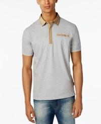 Sean John Men's Textured Polo Grey Mix Heather