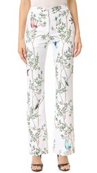 Monique Lhuillier Straight Leg Pants Silk White Multi