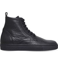 Ann Demeulemeester High Top Leather Trainers Black