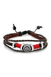 Steeltime Circle Cross Accent Leather Bracelet Metallic