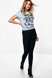 Boohoo High Rise Gingham Tube Jeans Charcoal