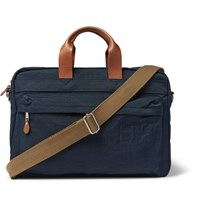J.Crew Harwick Leather Trimmed Canvas Briefcase Blue