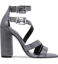 Carvela Goody Strappy Fabric Heeled Sandals Gunmetal