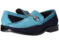 Stacy Adams Flynn Navy Teal Suede Men's Slip On Shoes Blue