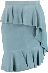 Matthew Williamson Ruffled Suede Mini Skirt Blue