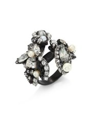 Erickson Beamon Crystal And Faux Pearl Ring Silver