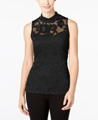 Inc International Concepts Lace Mock Neck Tank Top Only At Macy's Deep Black