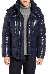 Sam. Men's Eclipse Hooded Goose Down Puffer Jacket Marine