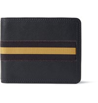 Dries Van Noten Webbing Trimmed Pebble Grain Leather Billfold Wallet Midnight Blue