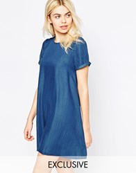 Native Youth Denim Tencel Swing Dress Mid Wash Blue