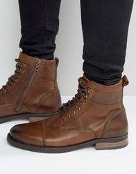 New Look Leather Military Style Boots In Light Brown Light Brown