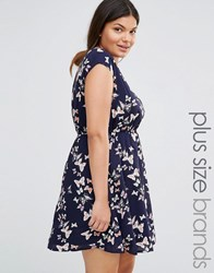 Yumi Plus Skater Dress With Belt In Butterfly Print Navy