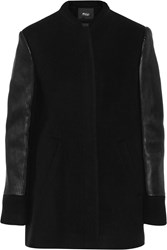 Maje Gizya Textured Leather Paneled Wool And Cashmere Blend Coat Black
