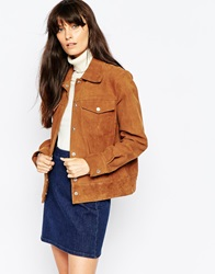 Wood Wood Joni Jacket In Suede Brownsuede