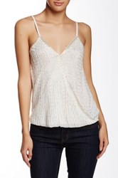 Angie Surplice Beaded Tank White