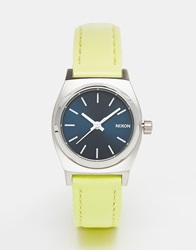 Nixon Small Time Teller Lime Leather Watch Green