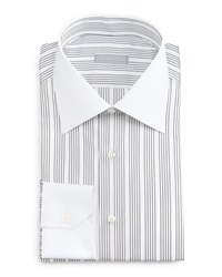 Stefano Ricci Contrast Collar Track Striped Dress Shirt Black